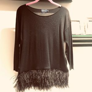 Ralph Lauren Ostrich Feather & Merino Wool top